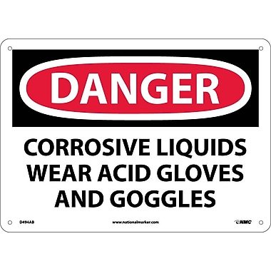 Danger, Corrosive Liquids Wear Acid Gloves And Goggles, 10