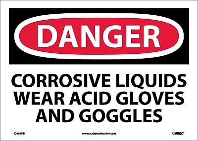 Danger, Corrosive Liquids Wear Acid Gloves And Goggles, 10X14, Adhesive Vinyl
