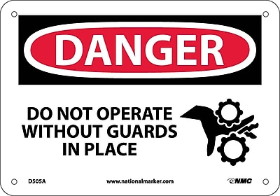 Danger, Do Not Operate Without Guards In Place, Graphic, 7X10, .040 Aluminum