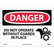 Danger, Do Not Operate Without Guards In Place, Graphic, 10X14, Adhesive Vinyl