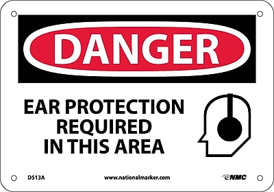 Danger, Ear Protection Required, Graphic, 7X10, .040 Aluminum
