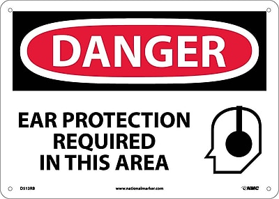 Danger, Ear Protection Required In This Area, 10X14 Rigid Plastic