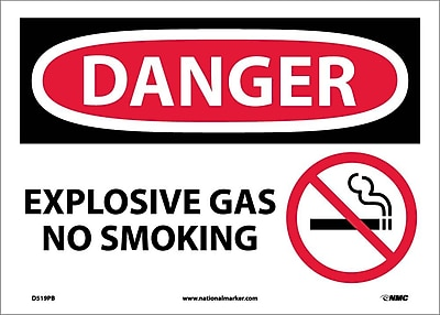 Danger, Explosive Gas No Smoking, Graphic, 10X14, Adhesive Vinyl