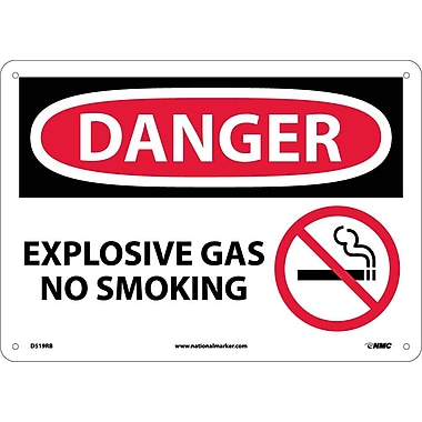Danger, Explosive Gas No Smoking, Graphic,10X14, Rigid Plastic