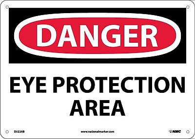 Danger, Eye Protection Area, 10X14, .040 Aluminum