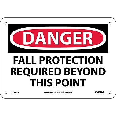 Danger, Fall Protection Required Beyond This Point, 7X10, .040 Aluminum
