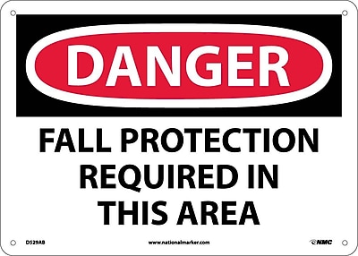 Danger, Fall Protection Required In This Area, 10X14, .040 Aluminum