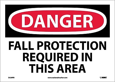 Danger, Fall Protection Required In This Area, 10X14, Adhesive Vinyl