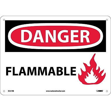 Danger, Flammable, Graphic, 10X14, Rigid Plastic