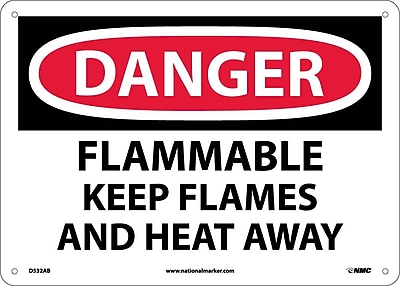 Danger, Flammable Keep Flames And Heat Away, 10X14, .040 Aluminum