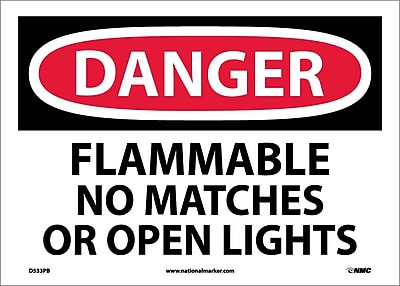 Danger, Flammable No Matches Or Open Lights, 10X14, Adhesive Vinyl