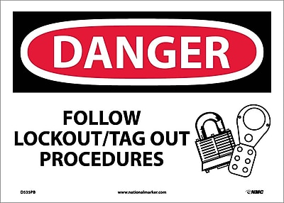 Danger, Follow Lockout Tag Out Procedures, Graphic, 10X14, Adhesive Vinyl