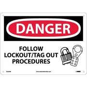 Danger, Follow Lockout Tag Out Procedures, Graphic, 10X14, Rigid Plastic