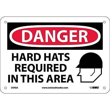 Danger, Hard Hats Required In This Area, 7X10, .040 Aluminum
