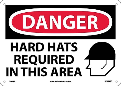 Danger, Hard Hats Required In This Area, Graphic, 10X14, .040 Aluminum