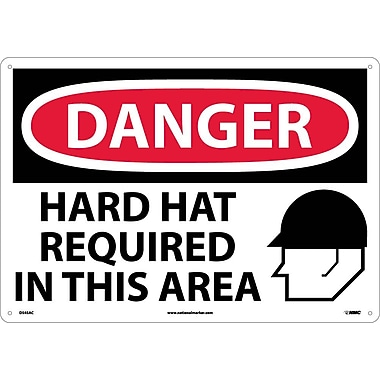 Danger, Hard Hats Required In This Area, Graphic, 14X20, .040 Aluminum