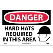 Danger, Hard Hats Required In This Area, Graphic, 10X14, Adhesive Vinyl