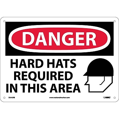 Danger, Hard Hats Required In This Area, Graphic, 10X14, Rigid Plastic