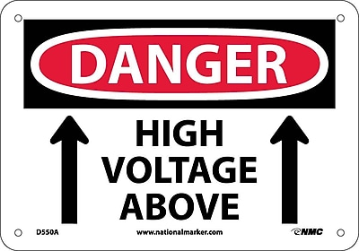 Danger, High Voltage Above, Graphic, 7X10, .040 Aluminum