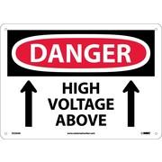 Danger, High Voltage Above, Up Arrow, 10X14, .040 Aluminum