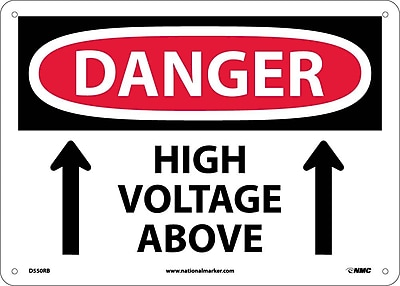 Danger, High Voltage Above, Up Arrow, 10X14, Rigid Plastic