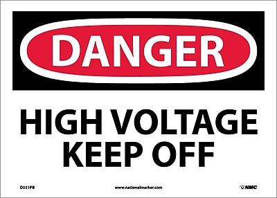 Danger, High Voltage Keep Off, 10X14, Adhesive Vinyl