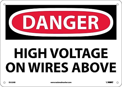 Danger, High Voltage On Wires Above, 10X14, .040 Aluminum