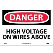 Danger, High Voltage On Wires Above, 10X14, Adhesive Vinyl
