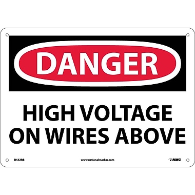 Danger, High Voltage On Wires Above, 10X14, Rigid Plastic
