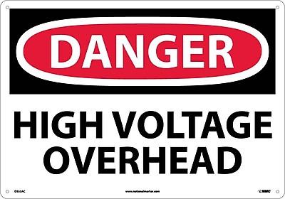 Danger, High Voltage Overhead, 14X20, .040 Aluminum