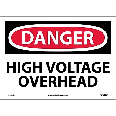 Danger, High Voltage Overhead, 10X14, Adhesive Vinyl