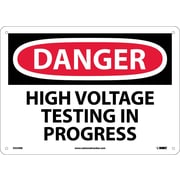 Danger, High Voltage Testing In Progress, 10X14, Rigid Plastic