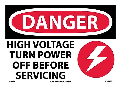 Danger, High Voltage Turn Power Off Before Servicing, Graphic, 10X14, Adhesive Vinyl