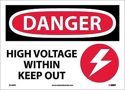 Danger, High Voltage Within Keep Out, Graphic, 10X14, Adhesive Vinyl