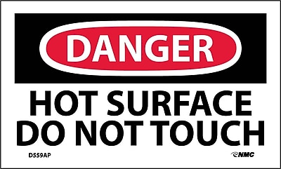 Labels - Danger, Hot Surface Do Not Touch, 3X5, Adhesive Vinyl, 5/Pk