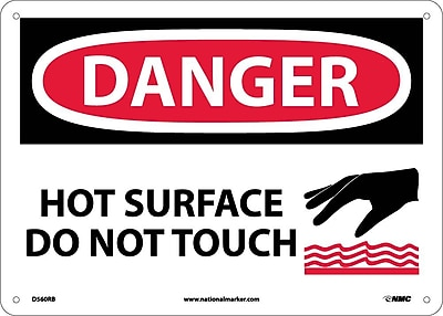 Danger, Hot Surface Do Not Touch, Graphic, 10X14, Rigid Plastic