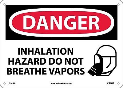 Danger, Inhalation Hazard Do Not Breathe Vapors, Graphic, 10X14, Rigid Plastic
