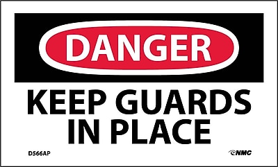 Labels - Danger, Keep Guards In Place, 3X5, Adhesive Vinyl, 5/Pk
