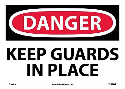 Danger, Keep Guards In Place, 10X14, Adhesive Vinyl
