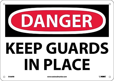 Danger, Keep Guards In Place, 10X14, Rigid Plastic