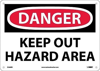 Danger, Keep Out Hazard Area, 10X14, Rigid Plastic