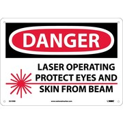 Danger, Laser Operating Protect Eyes And Skin From Beam, Graphic, 10X14, Rigid Plastic