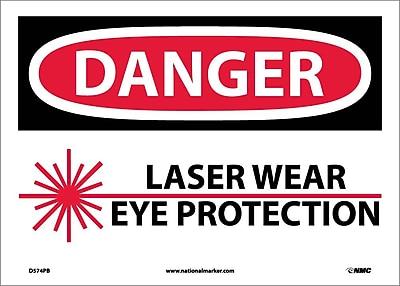Danger, Laser Wear Eye Protection, Graphic, 10X14, Adhesive Vinyl