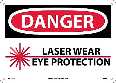 Danger, Laser Wear Eye Protection, Graphic, 10X14, Rigid Plastic