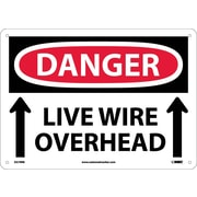 Danger, Live Wire Overhead, Up Arrow, 10X14, Rigid Plastic