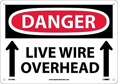 Danger, Live Wire Overhead, Up Arrow, 10X14, Rigid Plastic