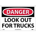 Danger Signs; Look Out For Trucks, 10X14, .040 Aluminum