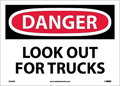 Danger, Look Out For Trucks, 10X14, Adhesive Vinyl