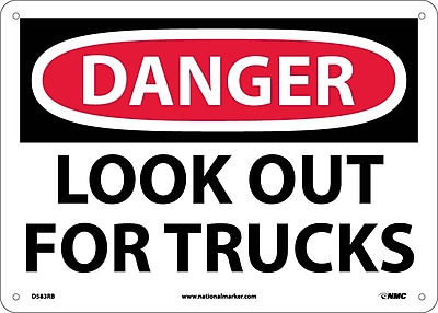 Danger, Look Out For Trucks, 10X14, Rigid Plastic