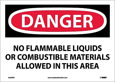 Danger, No Flammable Liquids Or Combustible Materials Allowed In This Area, 10X14, Adhesive Vinyl